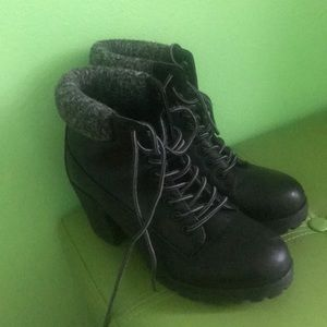 Military style heeled boots